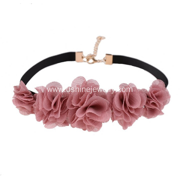 Flower Lace Choker With Black Velvet Necklace Jewelry